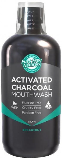 Essenzza Fuss Free Naturals Activated Charcoal Mouthwash Spearmint 500mL