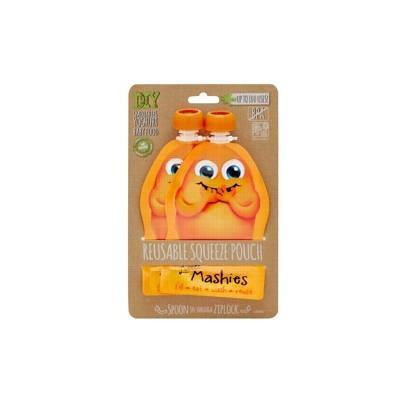 Reusable Squeeze Pouch - Orange 2x130ml - LITTLE MASHIES