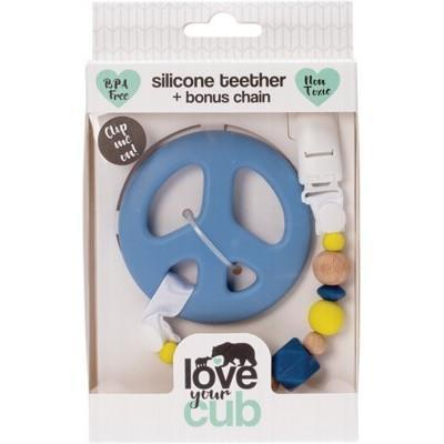 Silicone Teether- Blue Peace - LOVE YOUR CUB