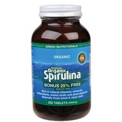 Organic Spirulina Tablets 200 - GREEN NUTRITIONALS