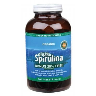 Organic Spirulina Tablets 500 - GREEN NUTRITIONALS