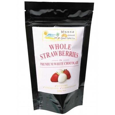 White Choc Strawberries 100g - NOOSA NATURAL CHOC. CO.