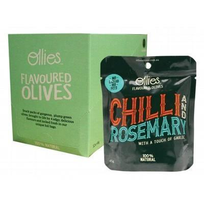 Olives Chilli & Rosemary 12x45g - OLLIES OLIVES