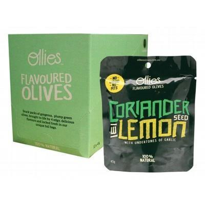 Olives Coriander/ Lemon 12x45g - OLLIES OLIVES