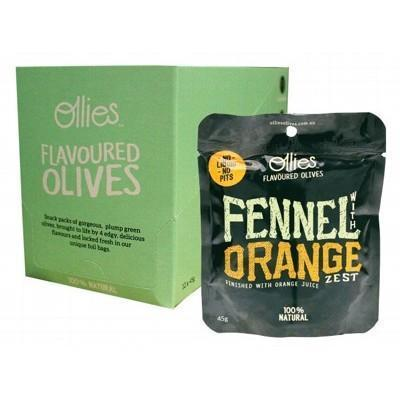 Olives Fennel & Orange Zest 12x45g - OLLIES OLIVES