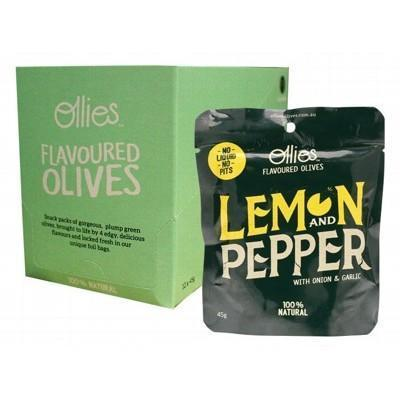 Olives Lemon & Pepper 12x45g - OLLIES OLIVES