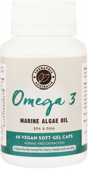 Therapeia Australia Omega 3 (Marine Algae Oil EPA & DHA) 60 vegan soft-gel caps