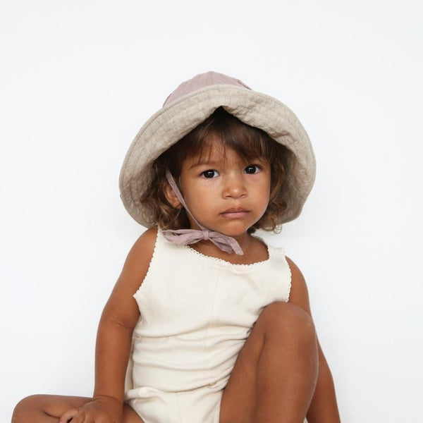 BABY SUN HAT WITH TIES - LILAC & NATURAL
