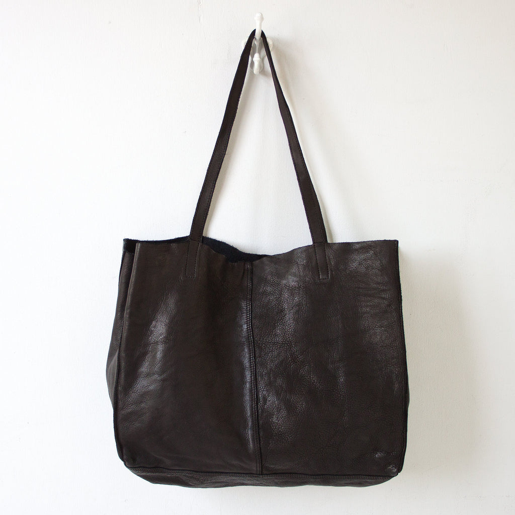 UNLINED LEATHER TOTE - BLACK