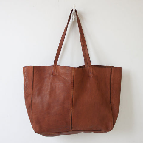 JUJU & CO - MONTEREY LEATHER COGNAC TOTE