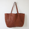 UNLINED LEATHER TOTE - COGNAC