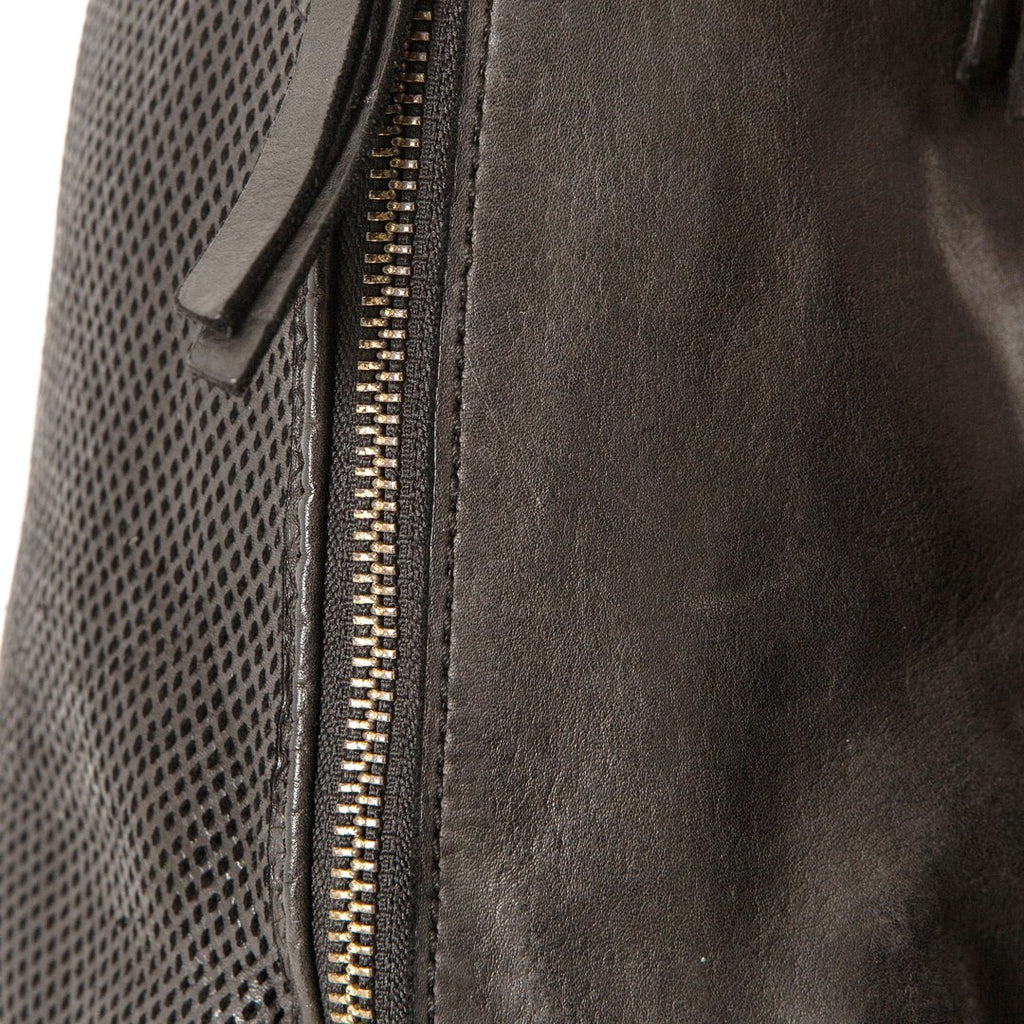 PERFORATED LEATHER SLOUCHY - BLACK