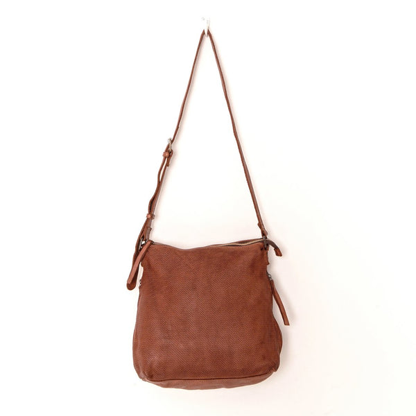 PERFORATED LEATHER SLOUCHY - COGNAC