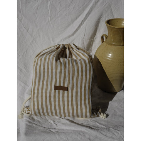 TOFFEE STRIPE LINEN PICNIC RUG