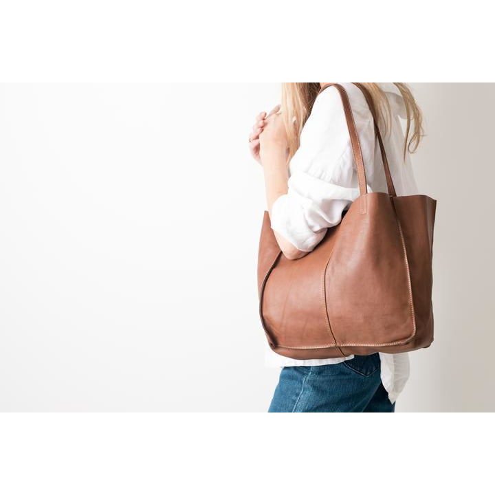 BABY UNLINED TOTE - COGNAC