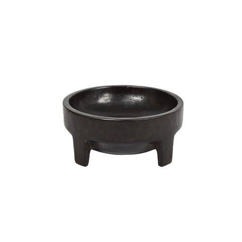 ST BARTS - BLACK TIMBER BOWL WITH LEGS