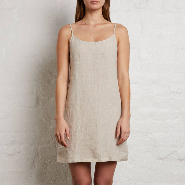 LINEN SLIP DRESS DOVE GREY