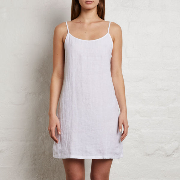 IN BED - LINEN SLIP DRESS WHITE
