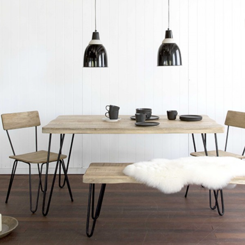 RUSTIC DINING TABLE 150CM W/ HAIRPIN LEGS