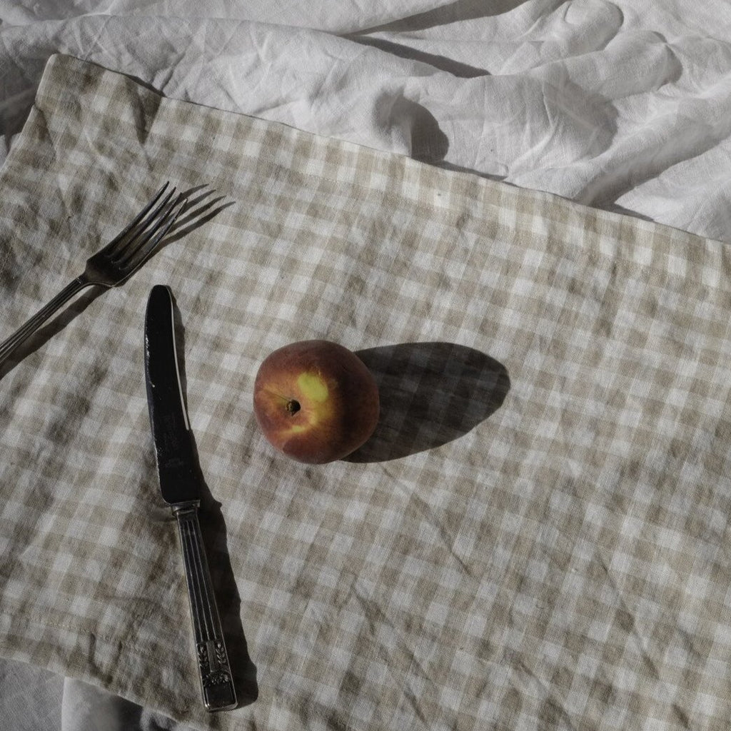 ALMOND GINGHAM LINEN PLACEMAT SET (2)