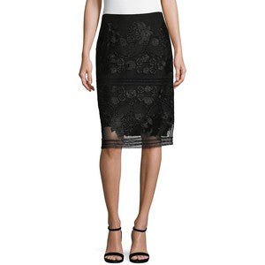 Marella | Black Embroidered Skirt