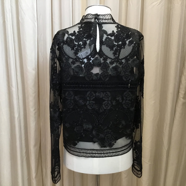 Marella | Black Embroidered Top