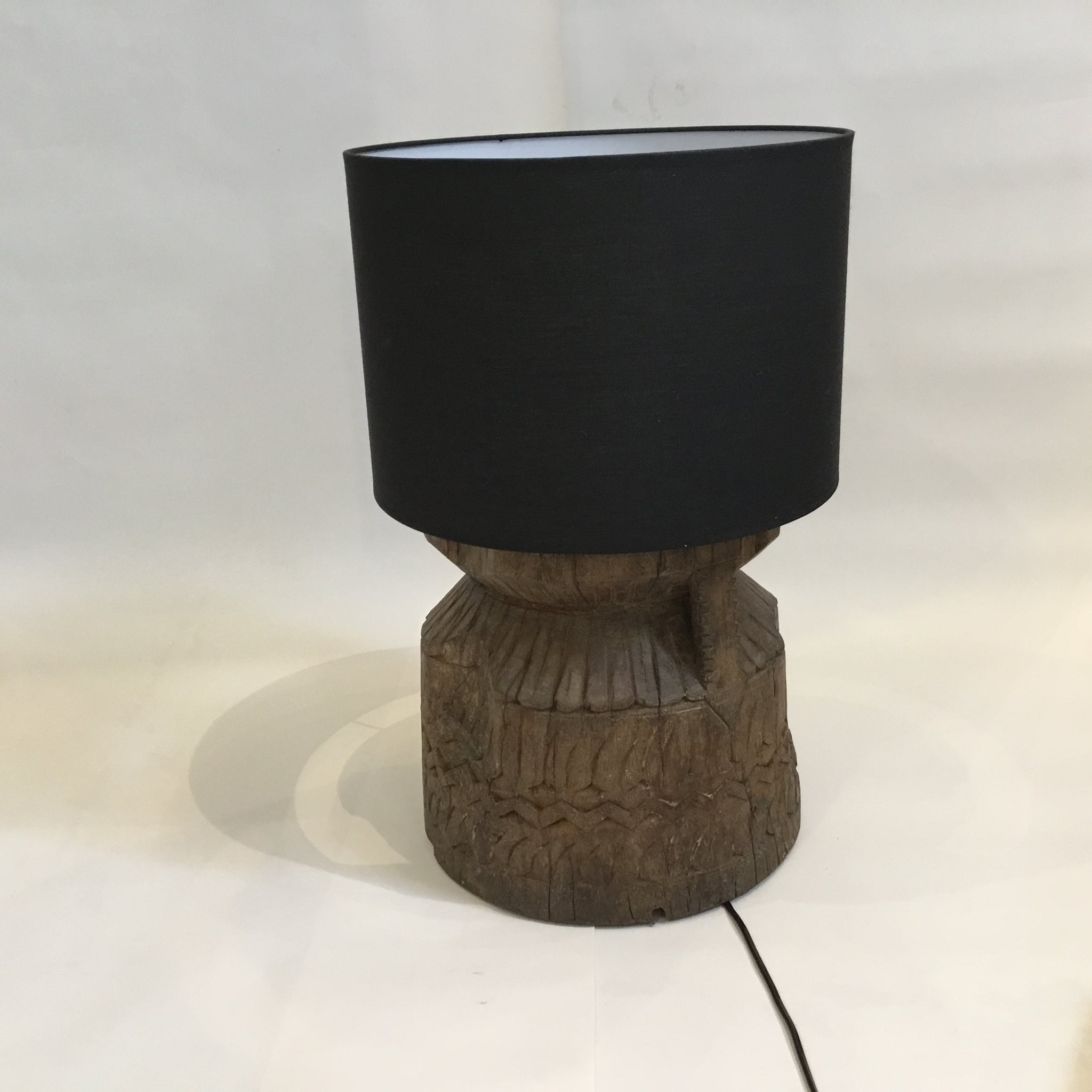 Lamp | Carved Old Indian Urn with Black Shade