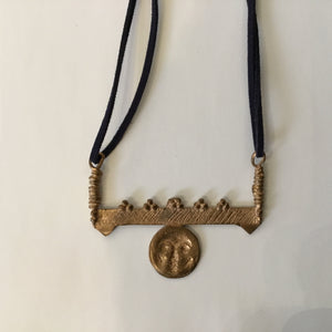 Bronze Moon on Bar Necklace
