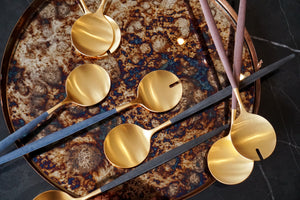 Gold | Salad Servers Navy Handles