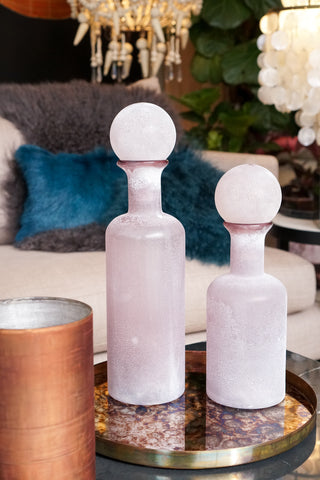 Glassware | Frosted Pink Bottle Small.