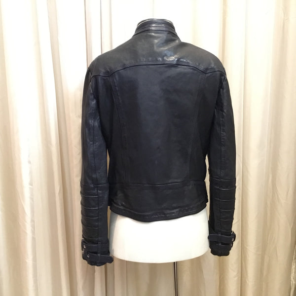 Delan Leather | Navy Biker Zip Jacket