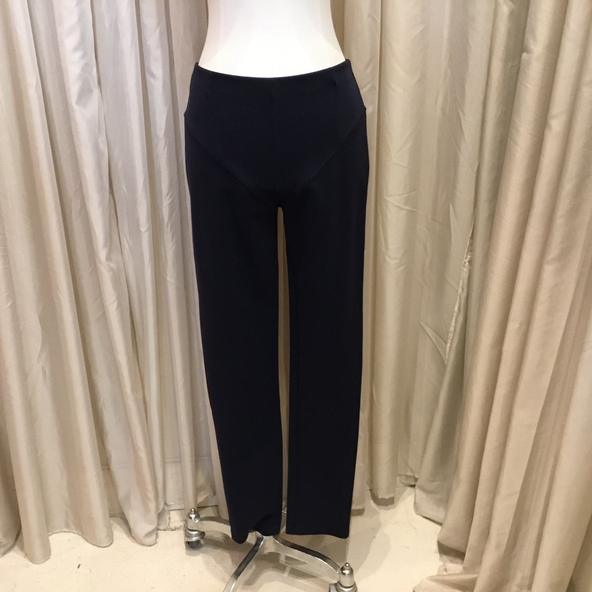 Navy Fitted Stretch Pants