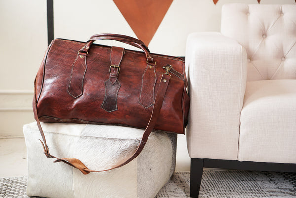 Leather Bag Slouch Dark Brown 58x30x32
