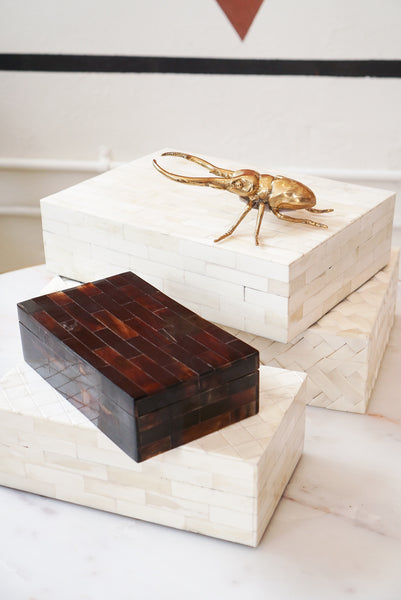 Keepsake Box | White Inlaid Bone Box 9x5x2.5