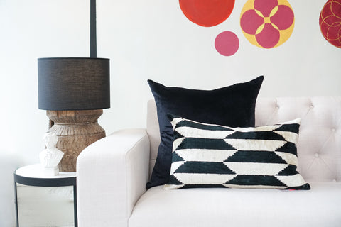 Silk Velvet Cushion | Harlequin B&W