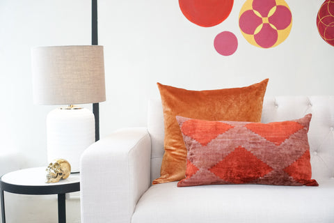 Silk Velvet Cushion | Diamond Orange Rust