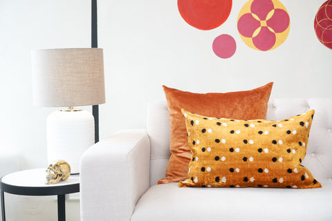 Silk Velvet Cushion | Polka Dot | Gold