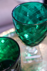 Glassware | Emerald Diamond Cut Hurricane