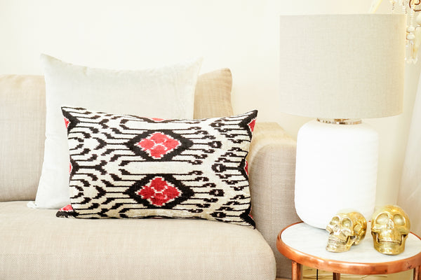 Silk Velvet Cushion, Peacock |  Red