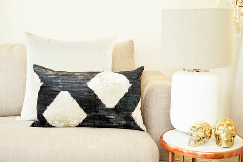 Silk Velvet Cushion, Diamond | Charcoal