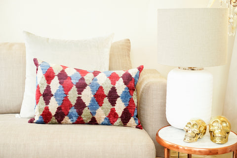 Silk Velvet Cushion, Harlequin | Multi
