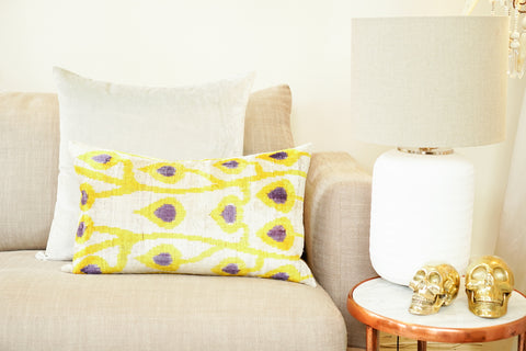 Silk Velvet Cushion, Drops | Gold & Purple
