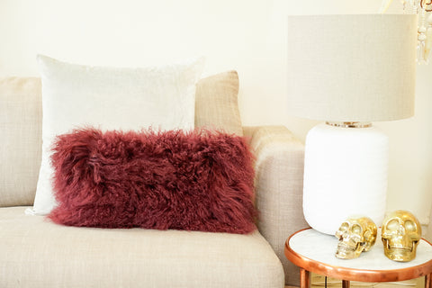 Fur Cushion | Plum Hide 25x37