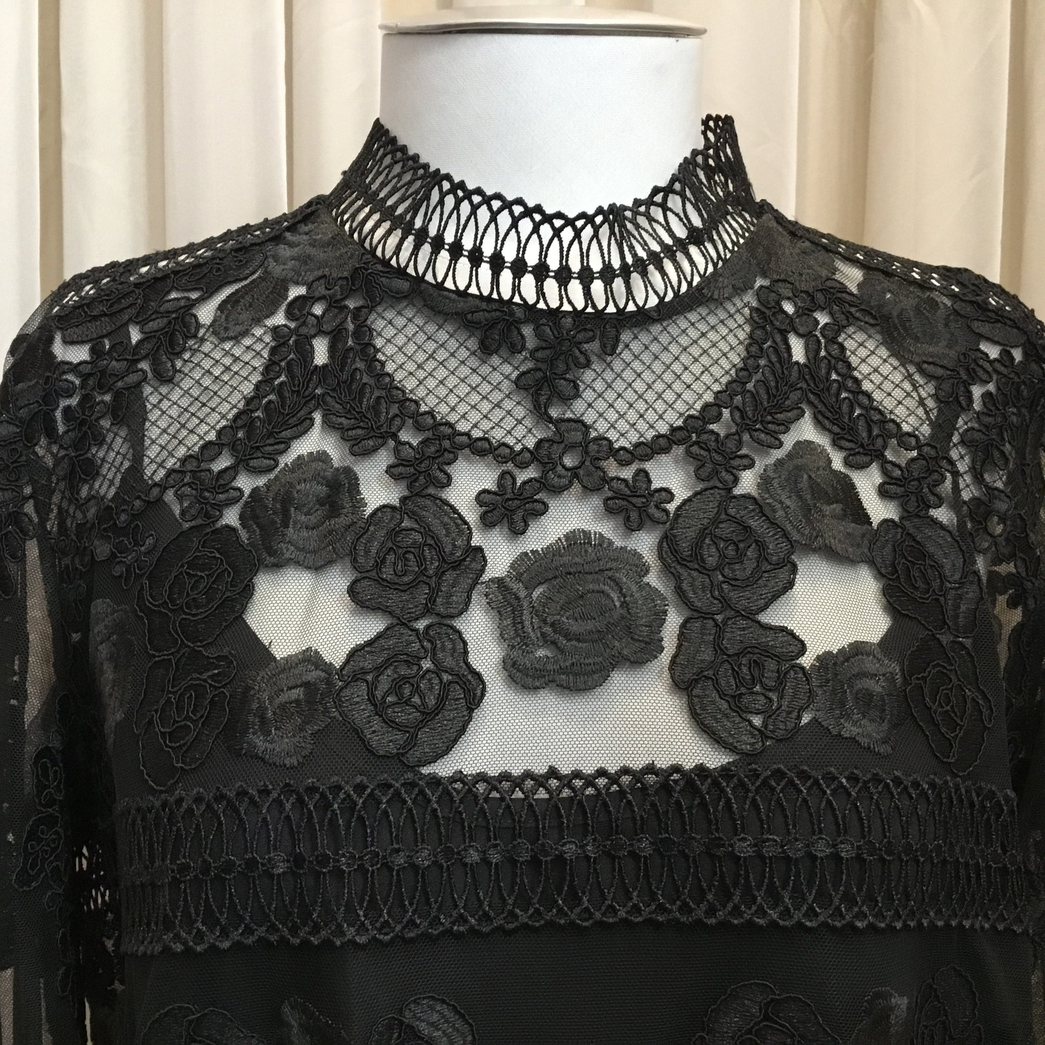 A Embroidered Black Top