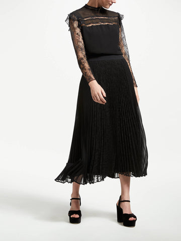 Marella | Black Lace Pleated Skirt