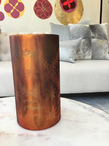 Glassware | Abstract Etched Orange Vase
