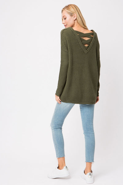 Chunky Knit Lace Up Sweater