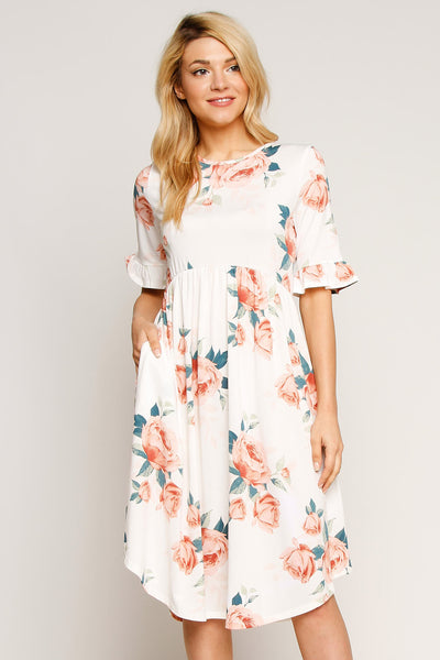 Floral Ruffle Sleeve O-Neck Smock Dress
