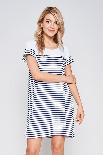 Short Sleeve Round Neck Swing Dress