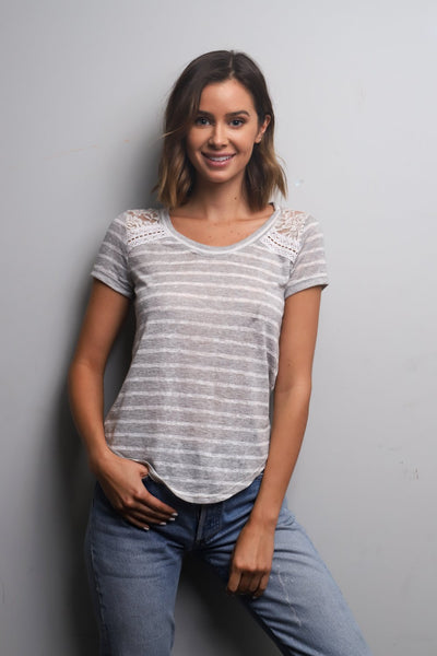 Short Sleeve Lace Detail Striped T-Shirt